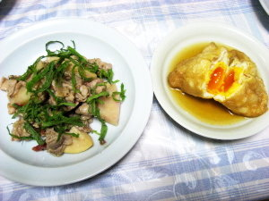 うちごはん♡豚と筍の梅しそ炒め、あぶ玉煮