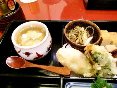 銀座料亭 京ふじへ-かぶら蒸し、ふぐ皮とふぐのお酢和え、天ぷら